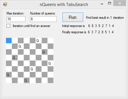 nQueenTabuS سورس حل مسئله 8 وزیر با الگوریتم جستجوی ممنوع Tabu Search در C#