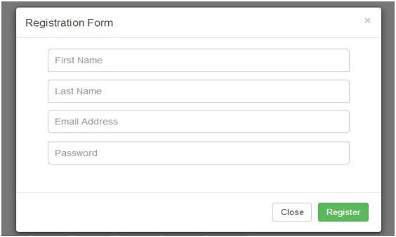 فرم ثبت نام با Modal