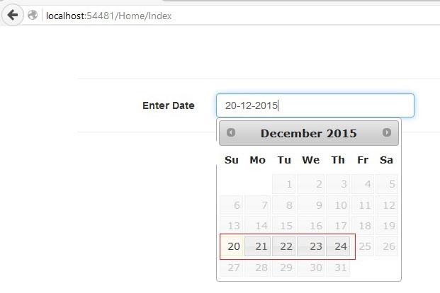 jQuery UI Calendar در MVC