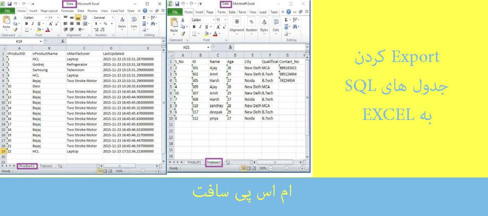 جدول های SQL